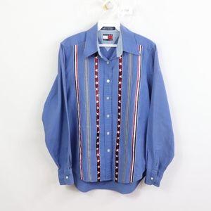 90s Tommy Hilfiger Womens 4 USA Striped Shirt Blue